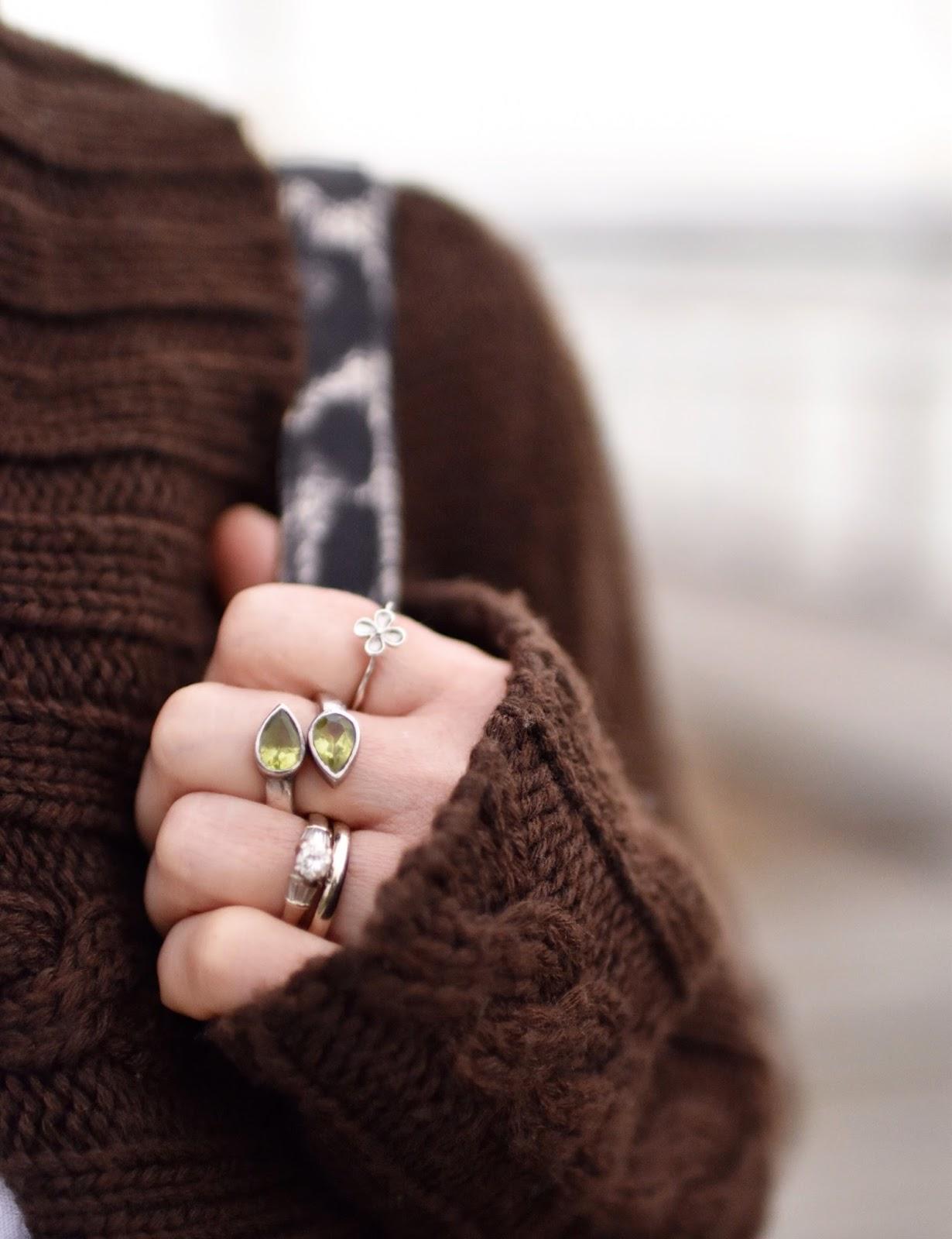 Monika Faulkner outfit inspiration - peridot ring