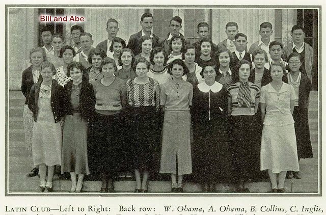 My husband's uncles, Bill and Abe, standing together in the back row of the Latin Club.