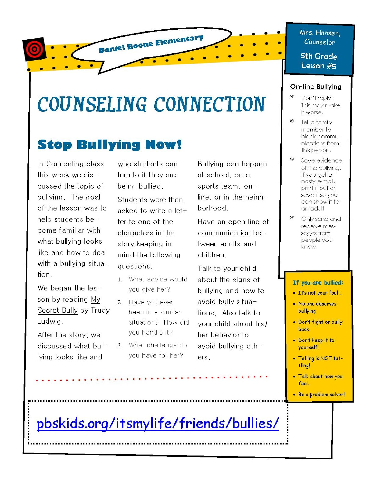 Hanselor the counselor 5th grade bullying lesson for 5th grade newsletter template