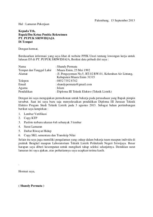 Surat Lamaran Kerja PDF  ben jobs