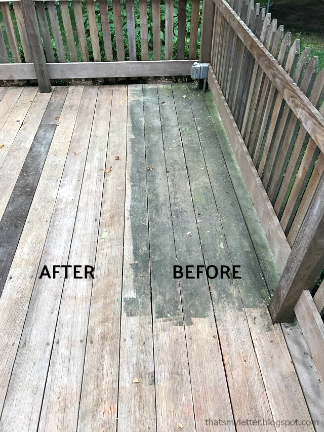 pressure washing wood deck before after