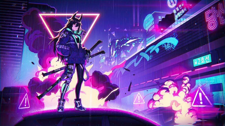 Cyberpunk, Anime, Girl, Katana, Sci-Fi, 4K, #6.1627