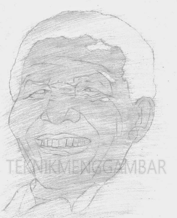 Menggambar Wajah Orang Tua  Teknik Menggambar