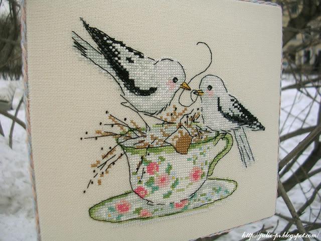 Весеннее чаепитие, Лесли Тиер, вышивка крестом, Вышиваю крестиком, пинкип