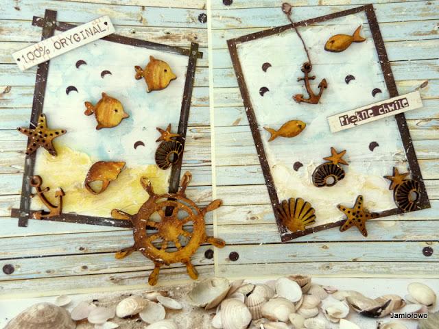 kartki z elementami morskimi z EKO-DECO