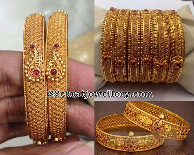 Antique Bangles with Flower Motifs