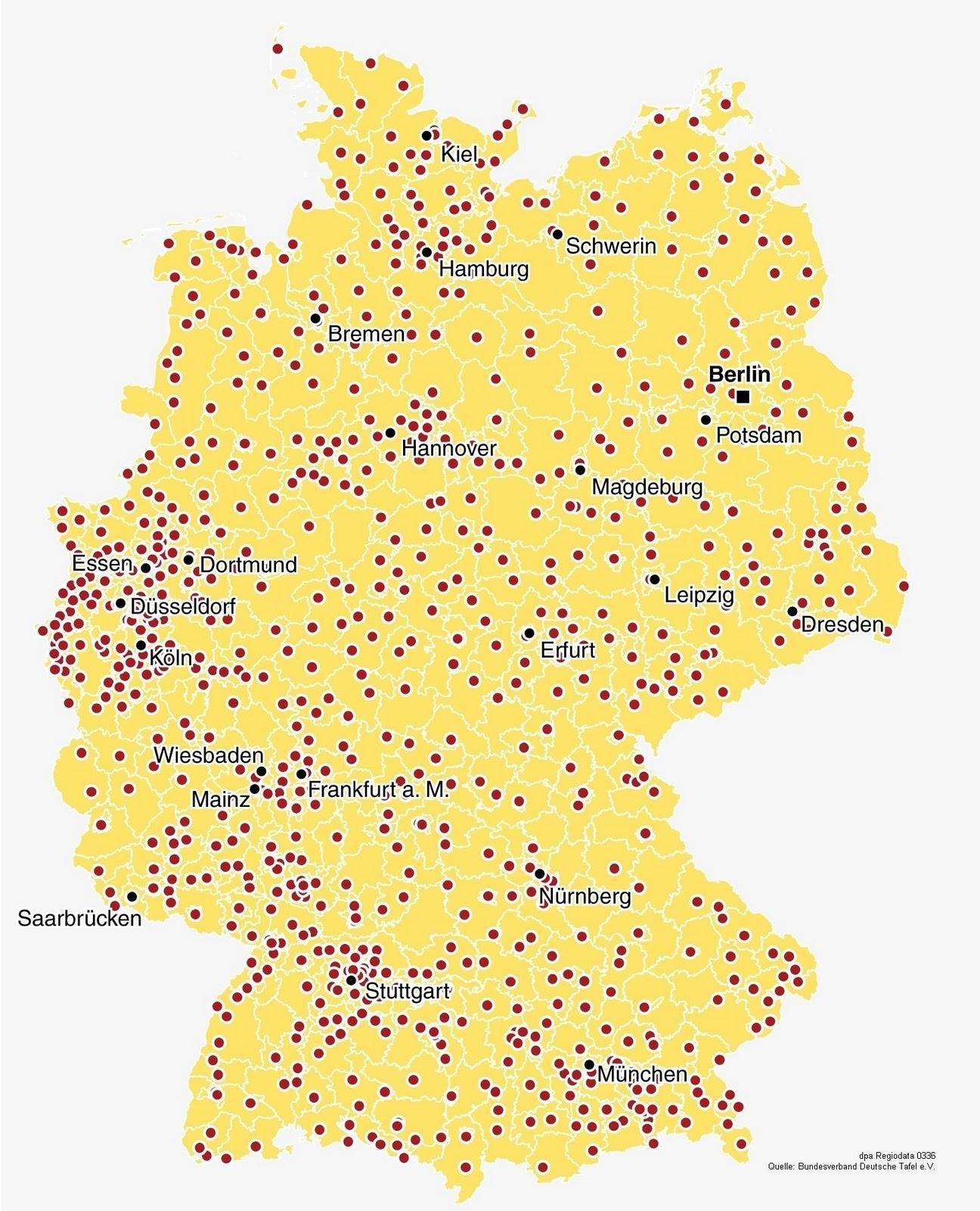 landkartenblog deutschlandkarte zeigt die tafeln in deutschland. Black Bedroom Furniture Sets. Home Design Ideas