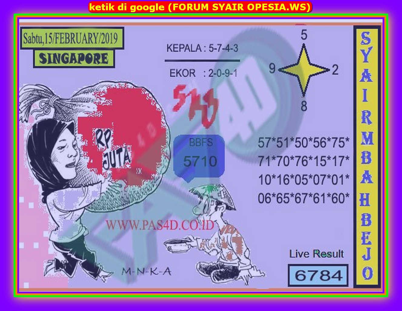 Kode syair Singapore Sabtu 15 Februari 2020 71