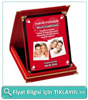 Sevgililere Özel Fotoğraf ve Mesajlı Plaket