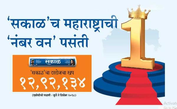 'सकाळ'च महाराष्ट्राची 'नंबर वन' पसंती...