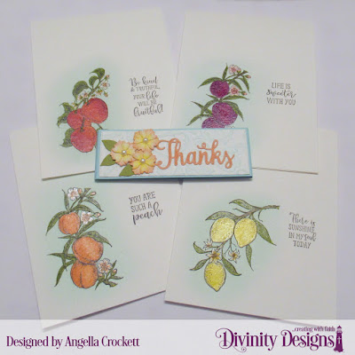 Divinity Designs Peach Branch, Apple Branch, Lemon Branch, Belly Band Dies, Bitty Blossoms Dies, Flourishes Embossing Folder, Card Set Designed by Angie Crockett