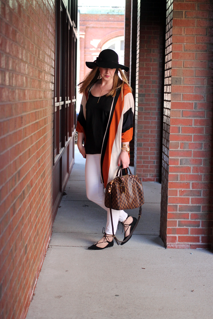 topshop lace up flats, hm stripe poncho, h&M striped poncho, boston style blogger, boston style blog, brick backdrop blog, what i wore blog