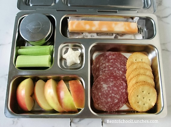 Lunchables with salami, crackers in Planetbox