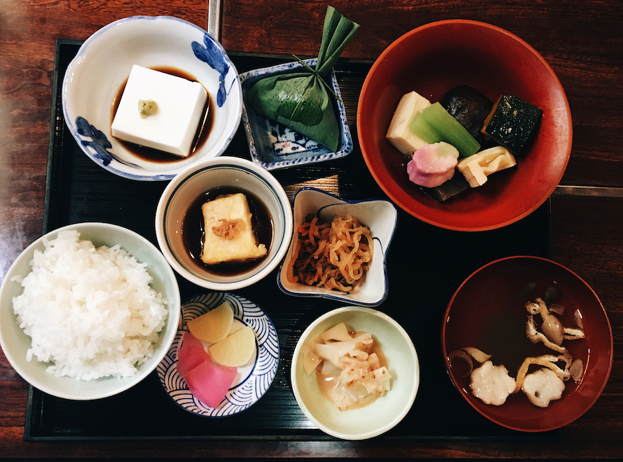 A shot of a complete traditional Buddhist Japanese meal in Koyasan