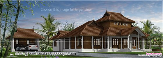 Kerala traditional villa left side view