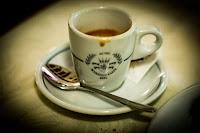 Espresso at Ristorante da Dante in Rome, Italy.