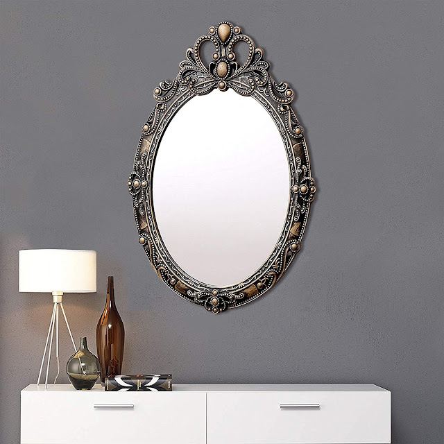 Kurtzy Wall Mirror Vintage Style Frame for Living Bathroom Bedroom (22x15 inch)