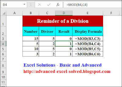 How to use MOD Function in Excel