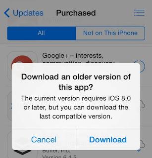 Pesan Download Aplikasi Versi Lama di AppStore iPhone