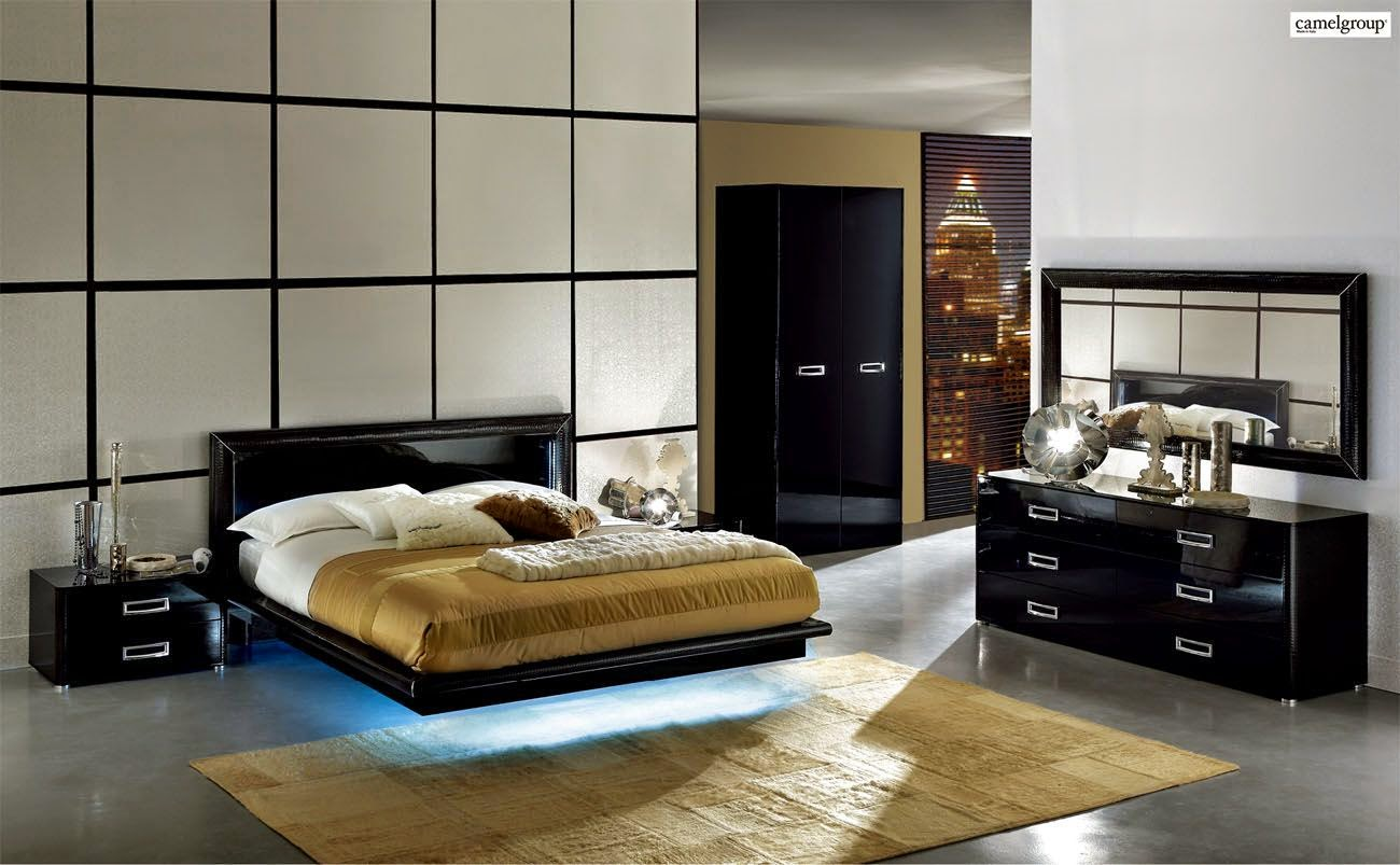 chambre a coucher noire. Black Bedroom Furniture Sets. Home Design Ideas