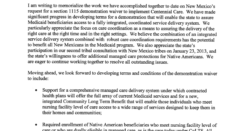 Native Amercan Healthcare Alliance Letter From Cindy Mann