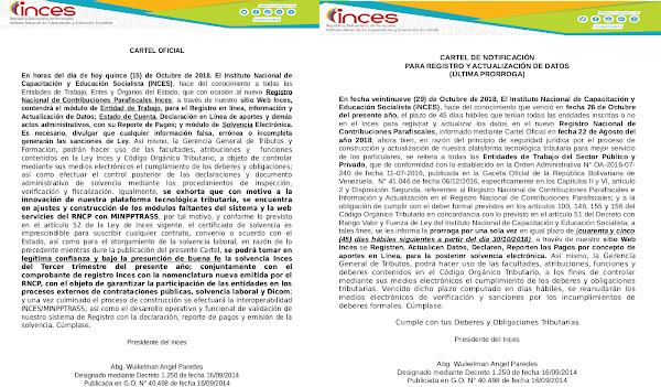 REGISTRO NACIONAL DE CONTRIBUCIONES PARAFISCALES INCES