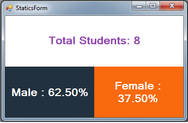 C# Students Information System Source Code - statics - total students