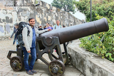 Cannons fortifying the historical Monte Fort, a world heritage site