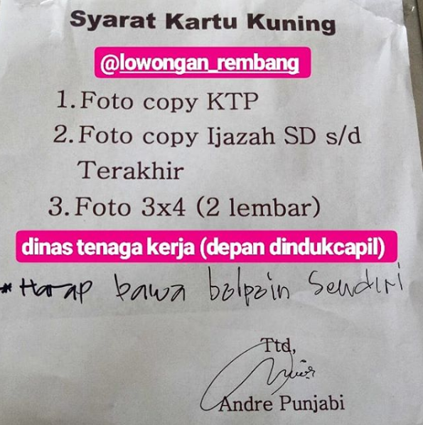 Persaratan Berkas Dalam Pembuatan Kartu Kuning Atau Kartu Pencari Kerja Atau Ak 1 Kabupaten Rembang Lowongan Rembang