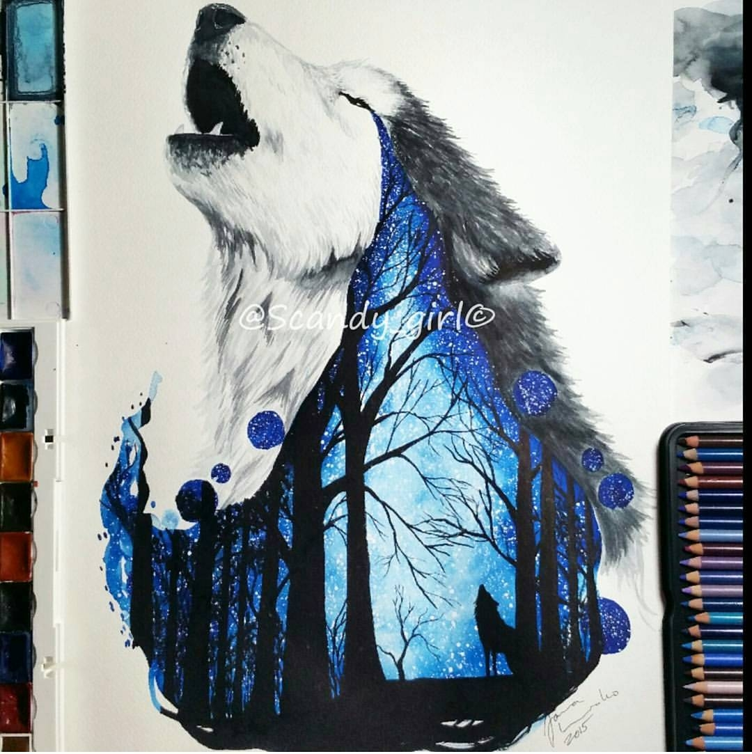 02-Missing-you-Wolf-Jonna-Lamminaho-Mixed-Media-Animal-Paintings-www-designstack-co