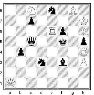 Problema de mate en 2 compuesto por Matti Myllyniemi (3ª Mención de Honor, Probleemblad 1974)