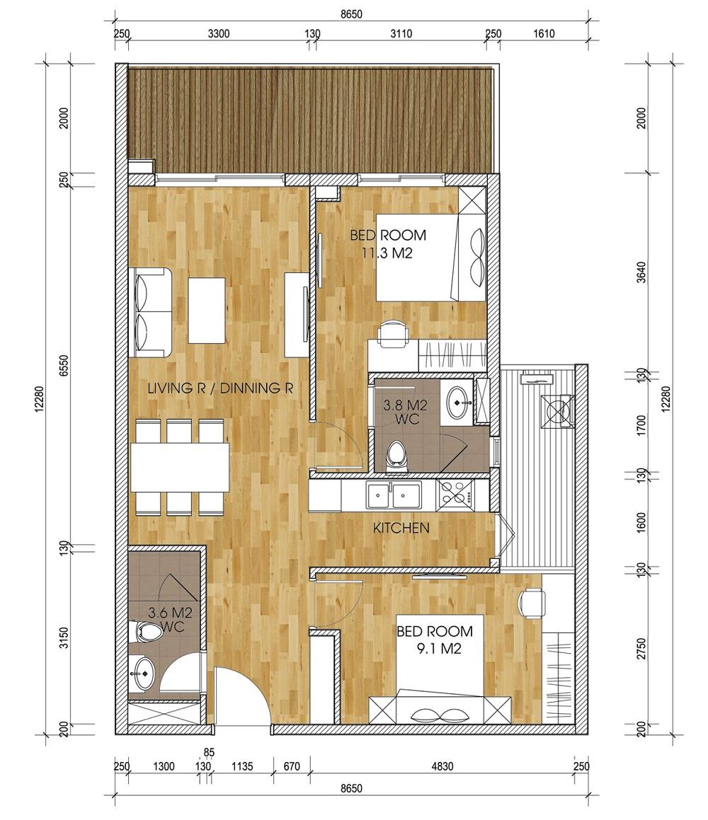 Mặt bằng căn 2 phòng ngủ chung cư The Two Gamuda