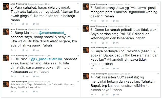 Heboh! Anas Urbaningrum: Bapak SBY, Tahukah Bapak Berapa Kali Demonstran Dikirim ke Rumah Saya?