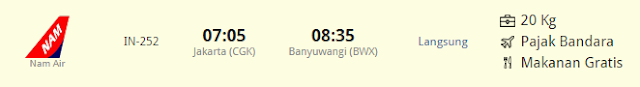 Penerbangan Jakarta (CGK) ke Banyuwangi (BWX) Blimbingsari, Harga tiket Jakarta (CGK) ke Banyuwangi (BWX)
