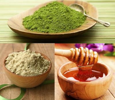bột trà xanh và cám gạo, mật ong