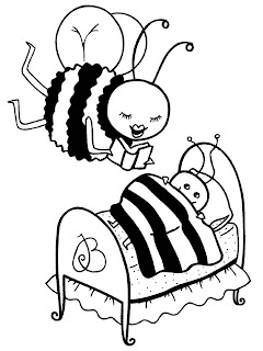 Reading Bee Printable Kids Coloring Pages