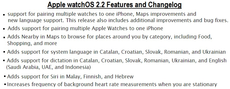 Apple watchOS 2.2 Features and Changelog