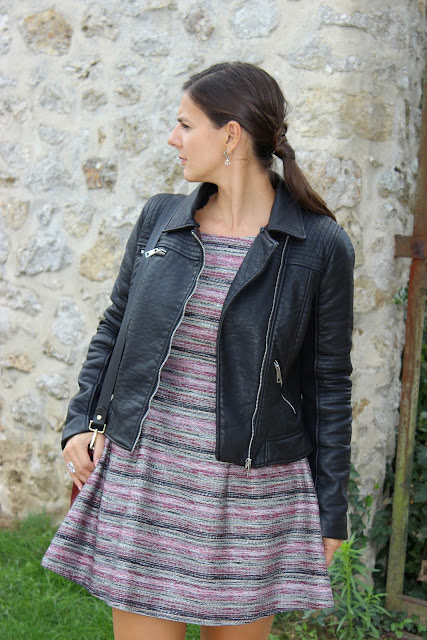 robe et low boot naf naf, sac bourse bordeaux zara, perfecto zara