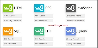 tutorials and references relating to HTML, CSS, JavaScript, PHP, SQL, Bootstrap, and jQuery.