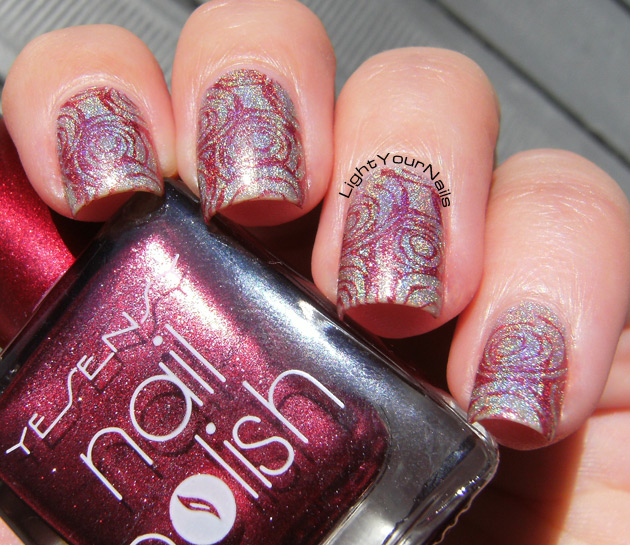 Holographic roses nail stamping with BP-73 stamping plate from BornPrettyStore