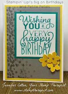 This bright and sunny birthday card uses Stampin' Up!'s Big on Birthdays, Petite Petals, and Dragonfly Dreams stamp sets.  Full directions and vidoe on the blog!  #stampinup #stamptherapist www.stamptherapist.com