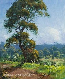 Plein air painting of roadside tree by Andy Dolphin