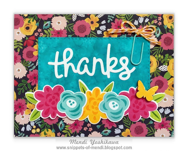 Snippet By Mendi: Lawn Fawn Thank You Card by Mendi Yoshikawa (using Fab Flowers stamps & Scripty Thanks Die)