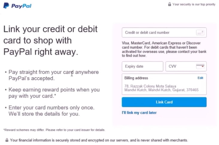 Enter your bank debit and credit card on paypal