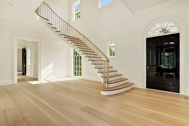 Washington DC luxury mansion Kalorama foyer entry stairway wood floors regency style limestone