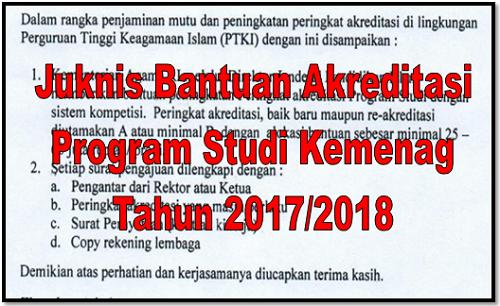 Juknis Bantuan Akreditasi Program Studi Kemenag Tahun 2017/2018