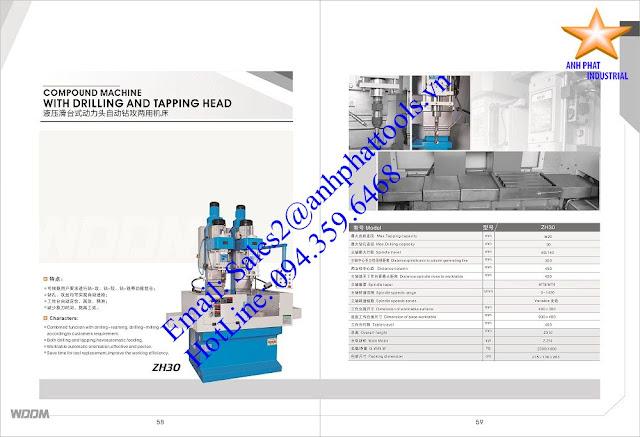 Máy Khoan và Taro 2 Trục Cao Cấp Thương Hiệu WDDM 2.2kw