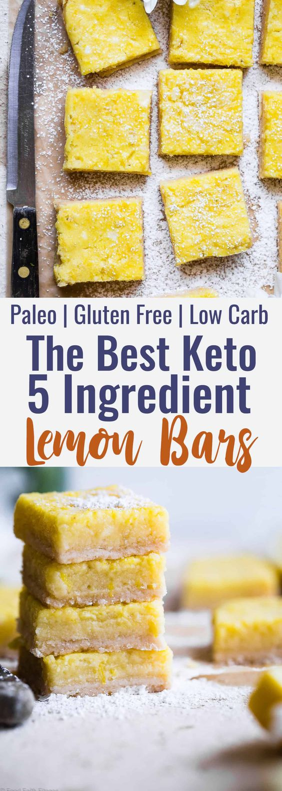 Keto Lemon Bars - These easy, gluten free lemon bars are only 5 ingredients and SO delicious! You will never believe they are only 100 calories, low carb and sugar free! | #Foodfaithfitness | #Glutenfree #Lowcarb #keto #sugarfree #healthy