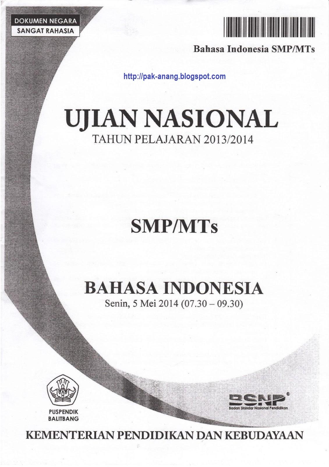 Naskah Soal Un Bahasa Indonesia Smp 2014 Paket 1 Informasi Pendidikan