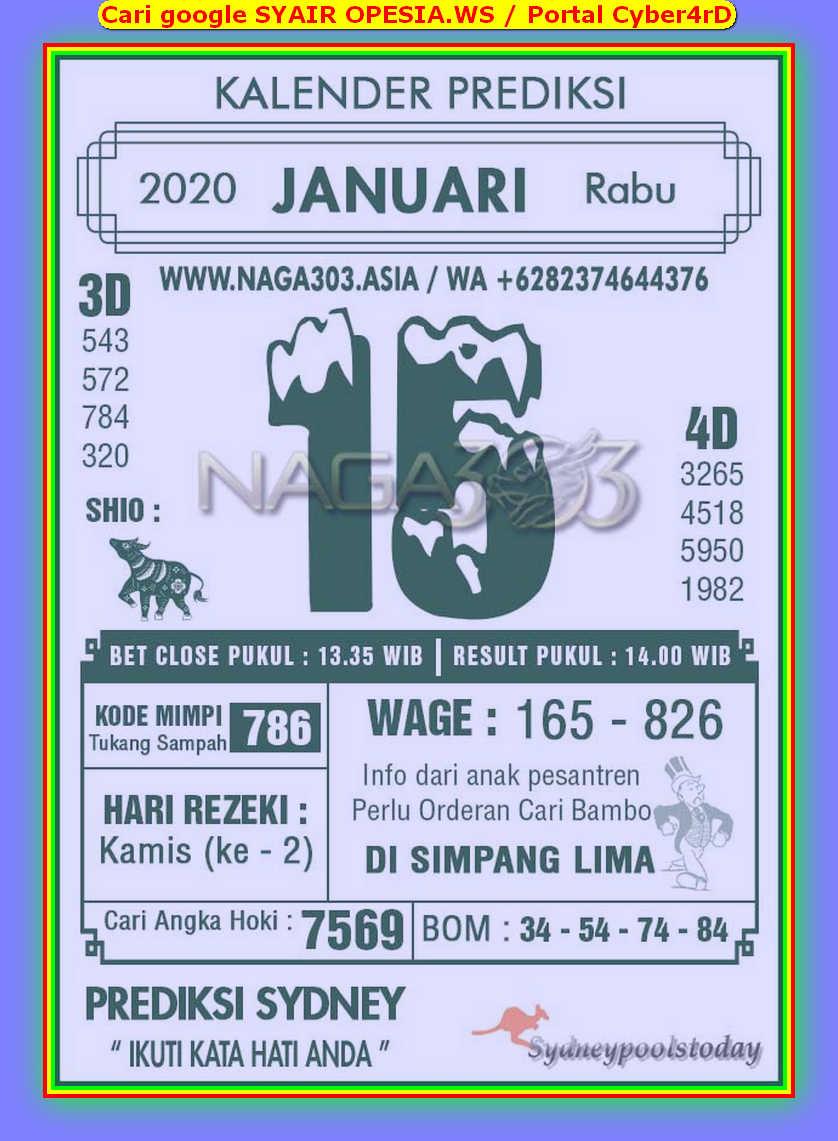 Kode syair Sydney Rabu 15 Januari 2020 79